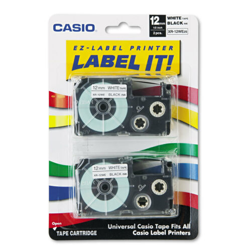 Casio Tape Cassettes for KL Label Makers 12mm x 26ft Black on White 2//Pack