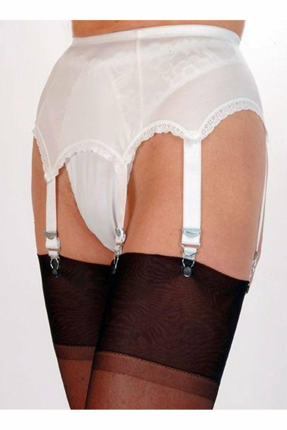 Simply Vintage 6 Strap Suspender Belt with Metal Clasps and Adjusters