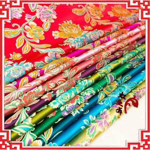 Chinese-Satin-Fabric-Floral-Brocade-Silky-Dress-Clothes-Cheongsam-Bag-DIY-Retro