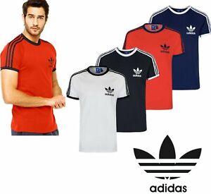 Details about Adidas Originals California Men's T-Shirt Trefoil Retro 3-Stripes Short Sleeve