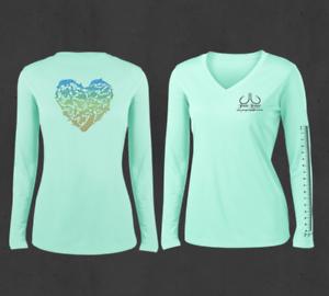 Ladies Seagrass Green V-Neck Heart Ocean Animals Performance Fishing Shirts