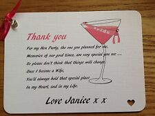 Hen Night,Hen Party, Thank you Card, Gift Personalised from the Bride Charm gift