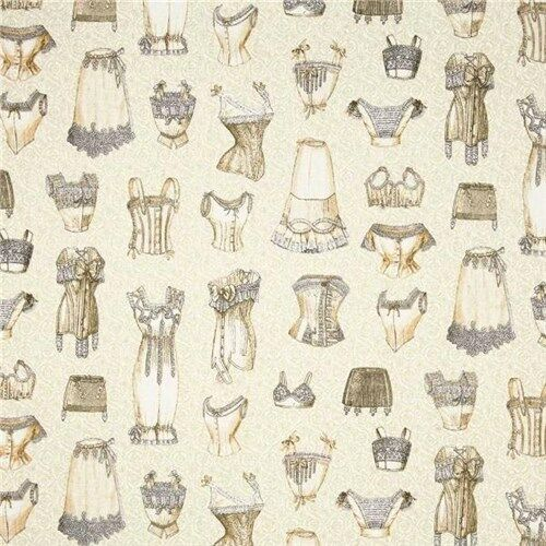 Unmentionables Victorian Lady's Undergarments Lingerie Cotton Fabric Fat Quarter