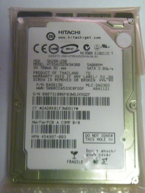 "Hitachi HTS542525K9A300 P/N:0A56156 MLC:DA2365 FW: A C3MP B/B 250GB 2.5"" SATA HD"
