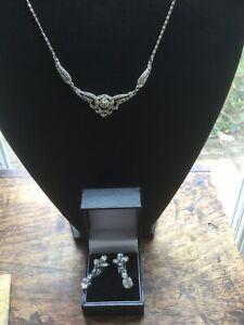 Vintage Marcasite Necklace With Diamanté Clip-on Earrings Vintage Chic 1950s