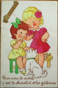 Details about Art Deco 1930s Postcard: Dog Watching Girls Eating  Chocolate/Candy