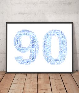 Image Is Loading Personalised 90th Birthday Word Art Gift Ninety Ninetieth