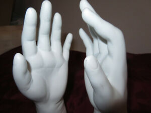 Mid-Century-PAIR-White-Mannequin-Display-Chalk-Plaster-Hands-Praying