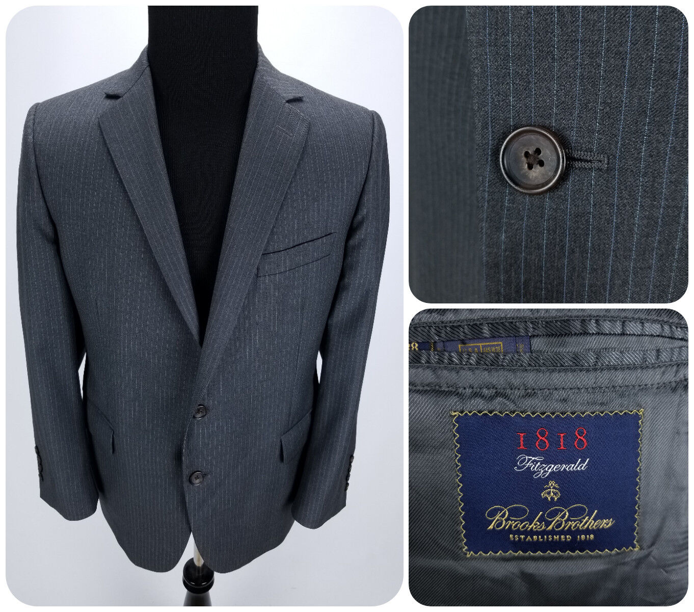 Brooks Brothers 1818 Fitzgerald 44S W38 Italien Charcoal Wool Stripped Stripped Stripped Suit Jacket 90b