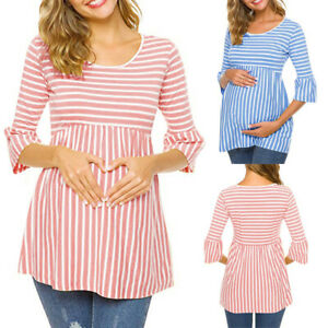 Fashion-Women-Pregnancy-Maternity-Tunic-Flare-Sleeve-Top-Stripe-Blouse-Tee-Shirt