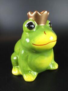 Frosch-mit-Krone-Froschkoenig-Spardose-Money-Bank-aus-Keramik-Neu