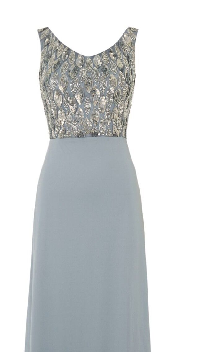 bb3ed76832a0 Ladies Lace And Beads Grey bluee Sequin Maxi Dress Bridesmaid Prom 10 to 12