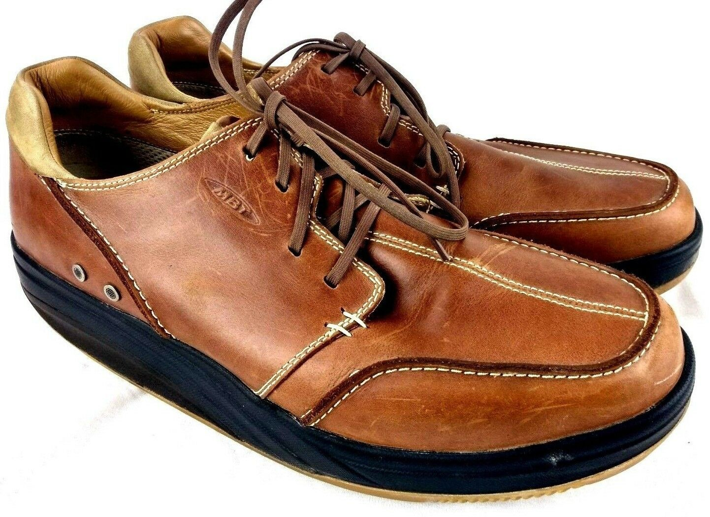 MBT Mens Sz 13.5 Leather Walking Lace Up Brown Moc Toe Oxfords MISSING INSOLES
