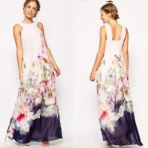 Das Bild wird geladen Damen-Boho-Chiffon-Maxi-Kleid-Sommer -Party-Strandkleid- d90c7bd1dc
