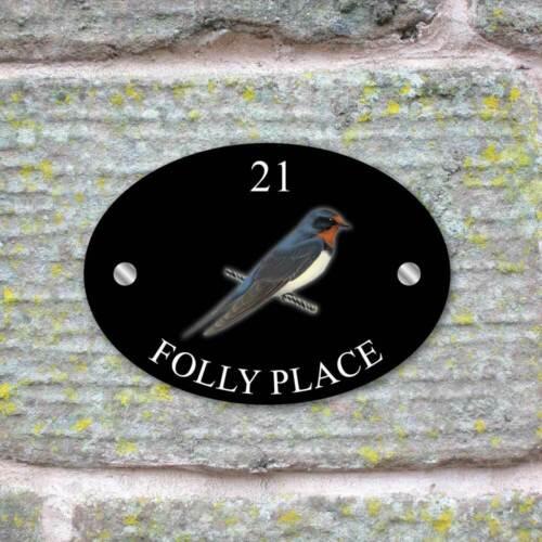 Ovale avaler House Sign Plaque Maison Porte Numéro Oiseau Signe Aspect Verre Nom