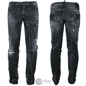DSQUARED2 Men s Jeans Slim Jean Size 54 Weathered Black Distressed ... f43fabb1cd7c