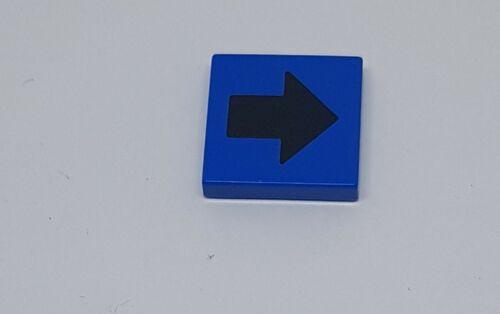 Lego Fliese 2x2 blau Pfeil schwarz 3068bp18 für Set 1342 1039 3429