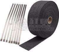 Pontiac 2 X 50' Protection Header Exhaust Heat Wrap Black With 8 Steel Ties
