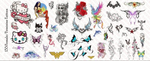 Female 1//6 Scale Custom Tattoos for Action Figures Feminine Waterslide Decals
