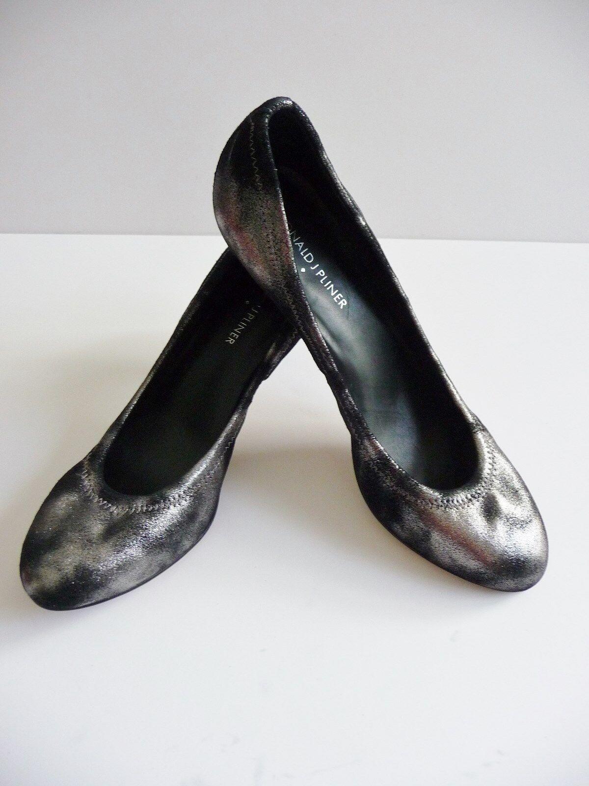 Donald Donald Donald J Pliner NIB Pewter Blk Dusted Metallic Suede Heels Pump Size 8.5 B  198 33b828