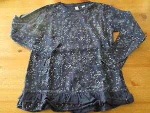 Tee-shirt-Bleu-nuit-et-etoiles-argentees-ML-T8ans-marque-Okaidi-NEUF