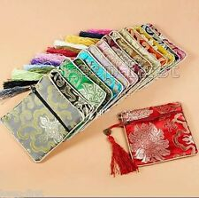 10pcs New Embroidery Mix color silk pouch jewelry Zipper Bags Coin Bag Gift Bags