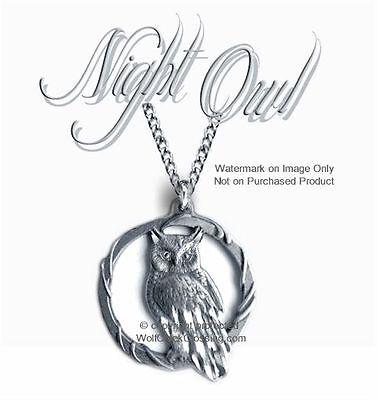 "OWL GODDESS OF WISDOM 1¾/"" OWLS MOON NECKLACE 24/"" JEWELRY GIFT FREE SHIP #C/'"