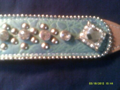 Wither Strap Light Blue Alligator Print Background Lots of Crystals