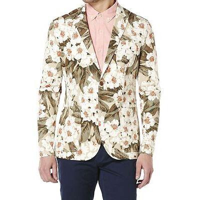 $228 PENGUIN New Vintage FLORAL Print BLAZER Jacket Pale KHAKI ( M ) FREE SHIP