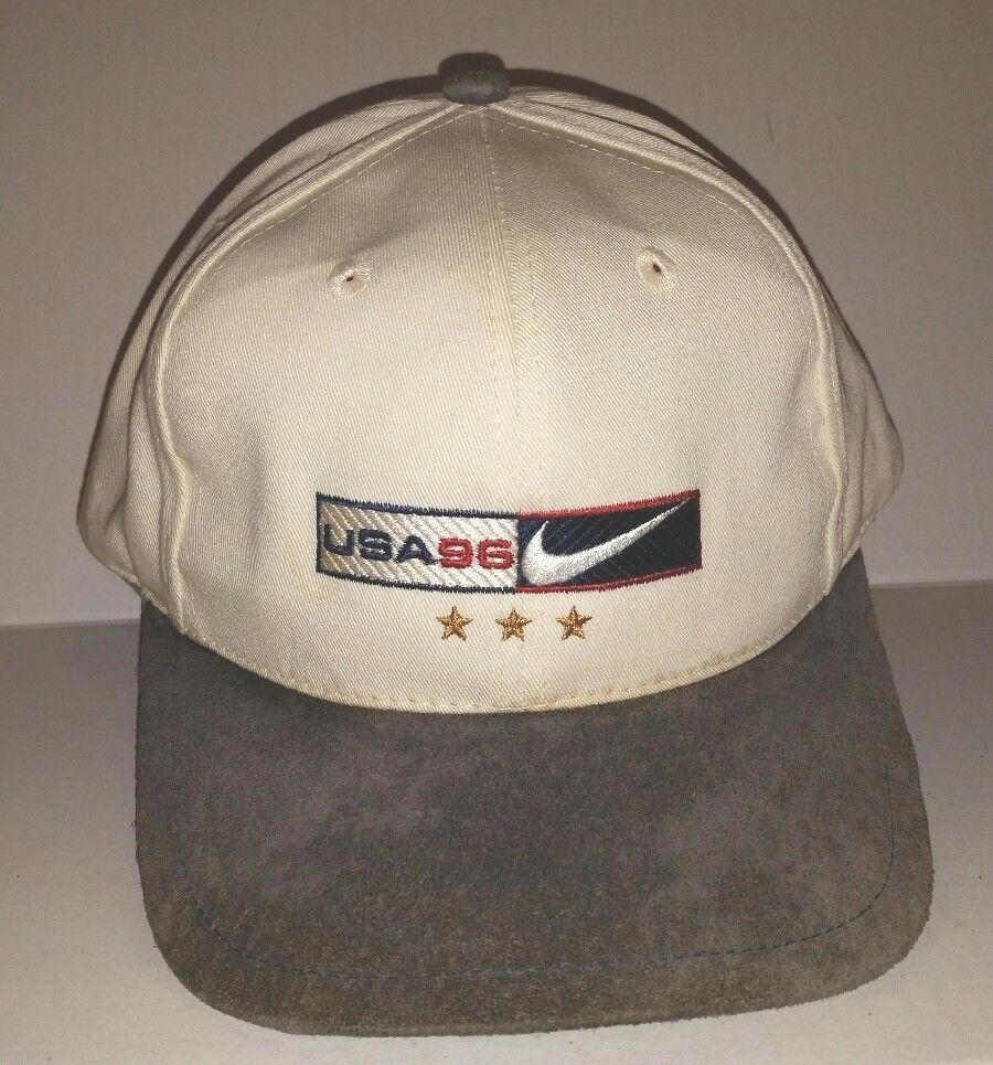 Vtg NIKE Embroidered USA 96 NIKE Logo tone Sports Ball Cap Hat 2 tone Logo Slide Backstrap c0afa3