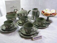 "Magnificent Wedgwood Green Jasper Ware"" 22 piece Afternoon ""Tea Set "" Beautiful."