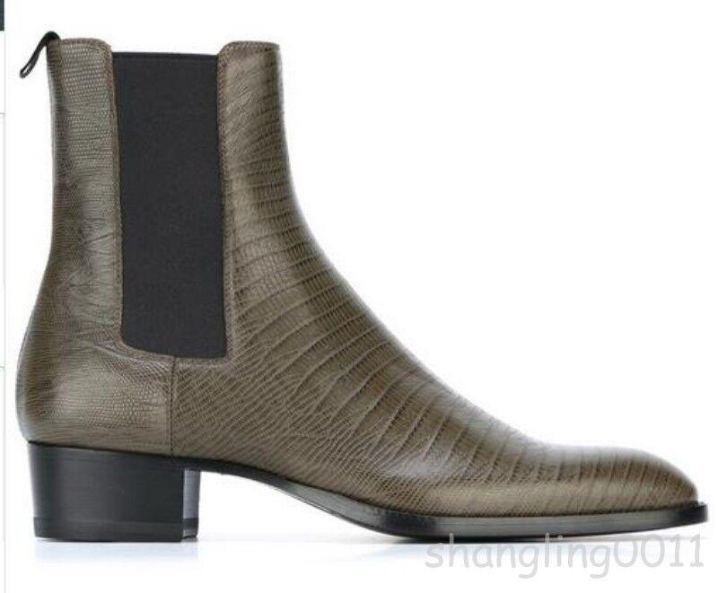 Hot Para Hombre De Cuero High Top botas al Tobillo Marrón Tirar De Puntera en Punta botas Formal Talla