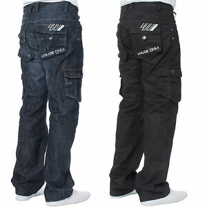 Mens-KRUZE-Coated-Combat-Cargo-Denim-Coated-Black-Darkwash-Jeans-Pants-Trousers