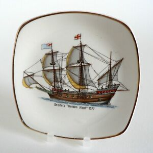 MIDWINTER-HISTORIC-SHIPS-DRAKE-039-S-GOLDEN-HIND-1577-PIN-TRAY-PICKLE-DISH-SHAPE-F42
