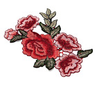 Pair Embroidery Rose Flower Sew On Patch Badge Bag Dress Applique Craft DIY