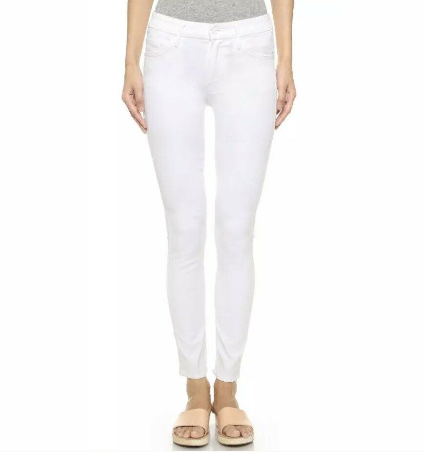 NEW Mother Looker Petite Glass Slipper White High Waisted Skinny Jeans Size 25