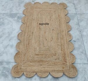 Jute 100% Natural Rug Indian Braided style Handmade Scalloped Floor Jute Rugs