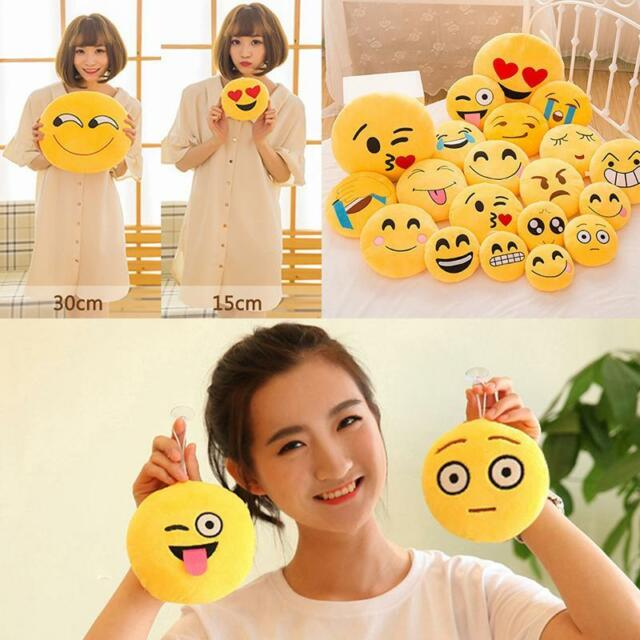 Yellow Round Cushion Emoji Emoticon Stuffed Plush Toy Doll Smiley Pillow HF US #