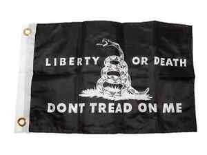 """12x18 Gadsden Liberty or Death Black 2ply Double Sided 12/""""x18/"""" Flag"""
