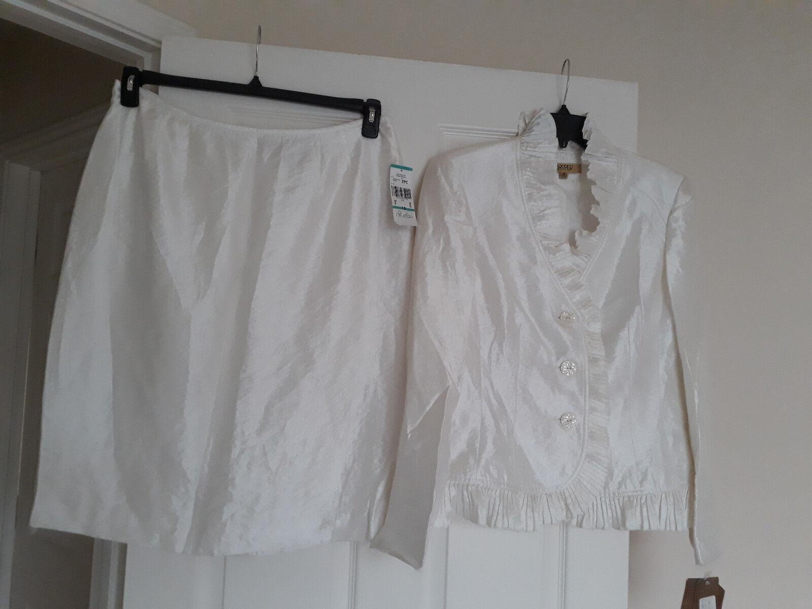 Kasper New Womens Lily Ocean View Ruffle Skirt Suit set  16