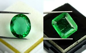 Mix Shape Muzo Emerald Gemstone Pair Natural 17-19 Ct AGI Certified Gift Sales
