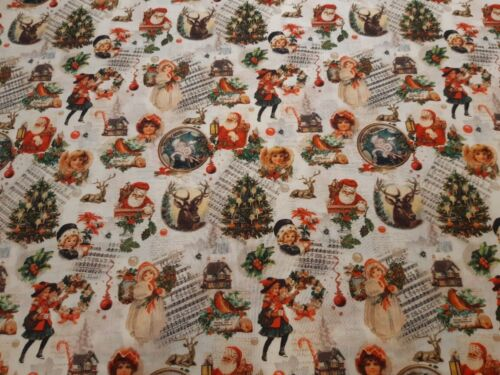 "ab 0,5 m: Baumwolldruck /""Vintage Christmas/"" 140 cm breit € 8,57//qm Meterware"