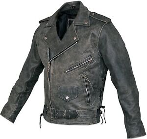 Mens-Distressed-Leather-Marlon-Brando-Belted-Biker-Motorcycle-Armoured-Jacket