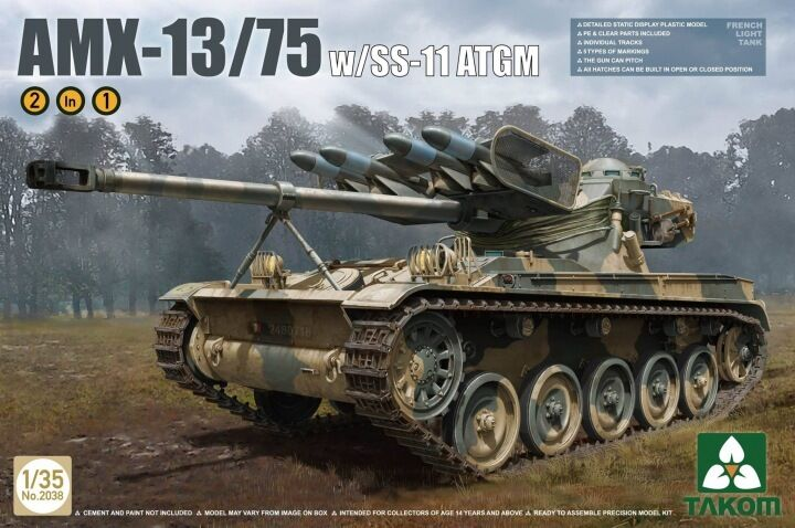 Char léger Français AMX-13 75 avec SS-11 ATGM, 1980 - Kit TAKOM 1 35 Réf. 2038