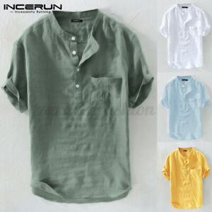 Vintage-Hommes-Chemise-a-manches-courtes-d-039-ete-v-cou-vacances-100-Coton-t-shirt