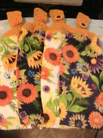 Sunflowers Colorful Lot Of 2 Crochet Top Kitchen, Bath, Shop Hand Cottage Towels