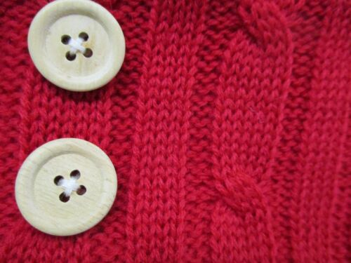 Cottage Chic RED Cable Knit Christmas Stocking w// button trim