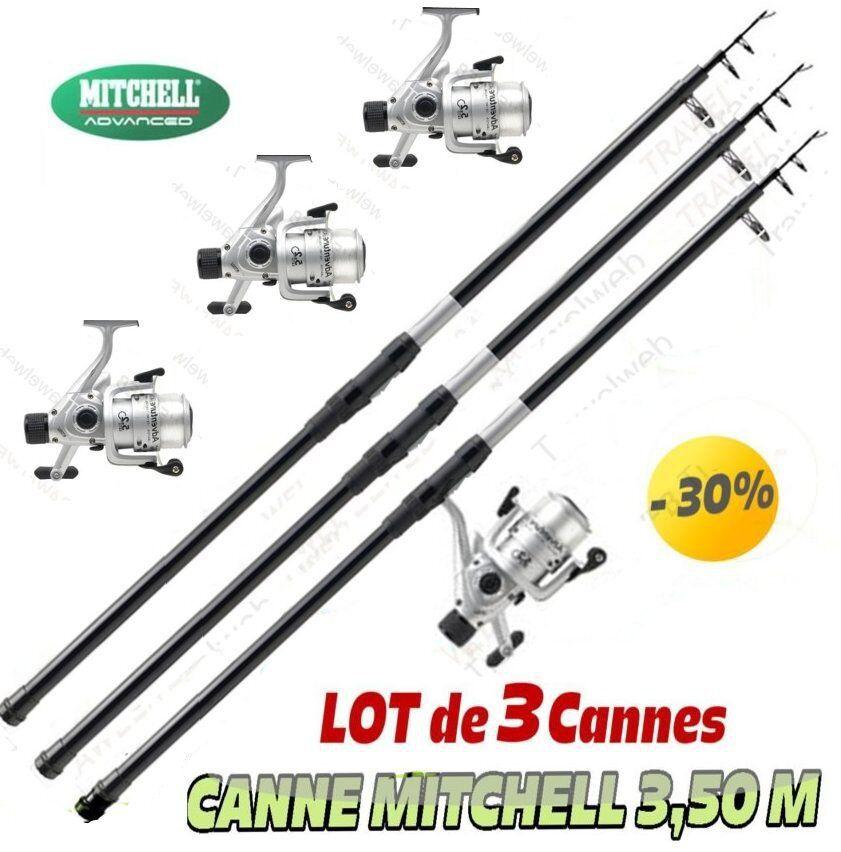 Canne a pêche, MER, TÉLESCOPIQUE MITCHELL 3.50 M , lot de 3 cannes complètes
