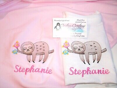 Sloth in tree Personalized Baby Infant Blanket /& Bib Set