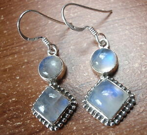 Moonstone-Double-Gem-with-Silver-Dot-Accents-925-Sterling-Silver-Dangle-Earrings